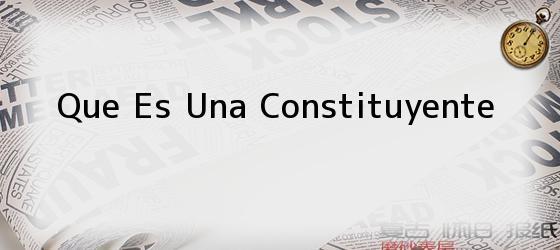 Que Es Una Constituyente