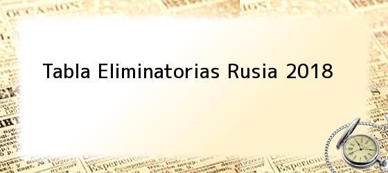 Tabla Eliminatorias Rusia 2018