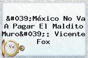 'México No Va A Pagar El Maldito Muro': Vicente Fox