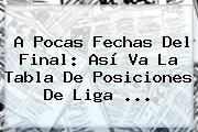 A Pocas Fechas Del Final: Así Va La Tabla De Posiciones De <b>Liga</b> ...