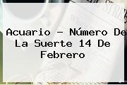 Acuario - Número De La Suerte <b>14 De Febrero</b>