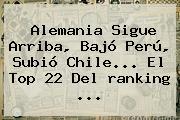 Alemania Sigue Arriba, Bajó Perú, Subió Chile... El Top 22 Del <b>ranking</b> ...