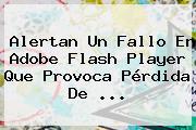 Alertan Un Fallo En <b>Adobe Flash Player</b> Que Provoca Pérdida De <b>...</b>