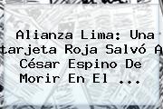 Alianza Lima: Una <b>tarjeta Roja</b> Salvó A César Espino De Morir En El ...