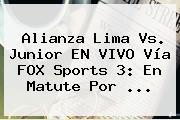 Alianza Lima Vs. Junior EN VIVO Vía FOX Sports 3: En Matute Por ...