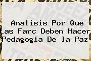 Analisis Por Que Las Farc Deben Hacer Pedagogia De <b>la Paz</b>