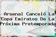 <b>Arsenal</b> Canceló La Copa Emiratos De La Próxima Pretemporada