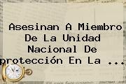 Asesinan A Miembro De La Unidad Nacional De <b>protección</b> En La ...