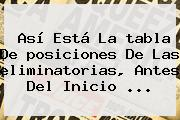 Así Está La <b>tabla</b> De <b>posiciones</b> De Las <b>eliminatorias</b>, Antes Del Inicio ...