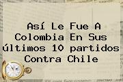 Así Le Fue A <b>Colombia</b> En Sus últimos 10 <b>partidos</b> Contra <b>Chile</b>