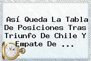Así Queda La <b>Tabla De Posiciones</b> Tras Triunfo De Chile Y Empate De <b>...</b>