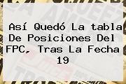 Así Quedó La <b>tabla De Posiciones</b> Del FPC, Tras La Fecha 19