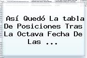 Así Quedó La <b>tabla De Posiciones</b> Tras La Octava Fecha De Las ...