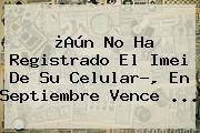 ¿Aún No Ha Registrado El <b>Imei</b> De Su Celular?, En Septiembre Vence ...