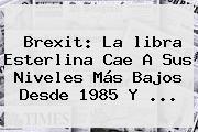 Brexit: La <b>libra Esterlina</b> Cae A Sus Niveles Más Bajos Desde 1985 Y ...