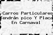 Carros Particulares Tendrán <b>pico Y Placa</b> En Carnaval