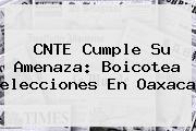CNTE Cumple Su Amenaza: Boicotea <b>elecciones</b> En Oaxaca