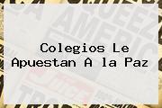 Colegios Le Apuestan A <b>la Paz</b>