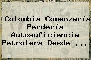 Colombia Comenzaría Perdería Autosuficiencia Petrolera Desde ...