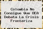 Colombia No Consigue Que <b>OEA</b> Debata La Crisis Fronteriza