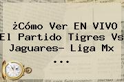 ¿Cómo Ver EN VIVO El Partido <b>Tigres Vs Jaguares</b>? Liga Mx ...