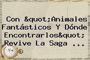 Con &quot;<b>Animales Fantásticos</b> Y Dónde Encontrarlos&quot; Revive La Saga ...