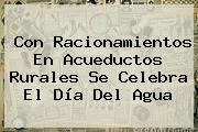Con Racionamientos En Acueductos Rurales Se Celebra El <b>Día Del Agua</b>