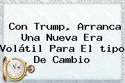Con Trump, Arranca Una Nueva Era Volátil Para El <b>tipo De Cambio</b>