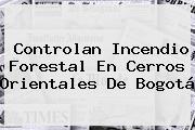 Controlan Incendio Forestal En Cerros Orientales De <b>Bogotá</b>