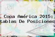<b>Copa América</b> 2015: <b>tablas De Posiciones</b>