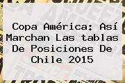 <b>Copa América</b>: Así Marchan Las <b>tablas De Posiciones</b> De Chile 2015