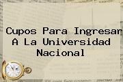 Cupos Para Ingresar A La <b>Universidad Nacional</b>
