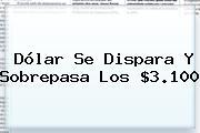 <b>Dólar</b> Se Dispara Y Sobrepasa Los $3.100