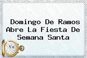 <b>Domingo De Ramos</b> Abre La Fiesta De Semana Santa