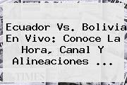 <b>Ecuador Vs. Bolivia</b> En Vivo: Conoce La Hora, Canal Y Alineaciones <b>...</b>