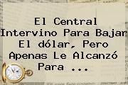 El Central Intervino Para Bajar El <b>dólar</b>, Pero Apenas Le Alcanzó Para ...