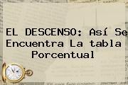 EL DESCENSO: Así Se Encuentra La <b>tabla</b> Porcentual