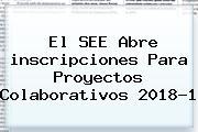 El SEE Abre <b>inscripciones</b> Para Proyectos Colaborativos <b>2018</b>-1