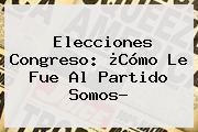 Elecciones Congreso: ¿Cómo Le Fue Al <b>Partido Somos</b>?