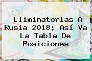 <b>Eliminatorias</b> A <b>Rusia 2018</b>: Así Va La Tabla De Posiciones