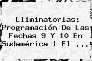<b>Eliminatorias</b>: Programación De Las Fechas 9 Y 10 En Sudamérica | El ...