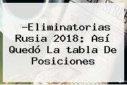 ?<b>Eliminatorias Rusia 2018</b>: Así Quedó La <b>tabla De Posiciones</b>