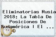 <b>Eliminatorias Rusia 2018</b>: La Tabla De Posiciones De Sudamérica | El ...