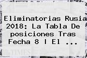 <b>Eliminatorias Rusia 2018</b>: La Tabla De <b>posiciones</b> Tras Fecha 8 | El ...