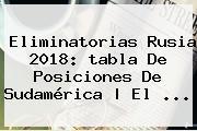 <b>Eliminatorias Rusia 2018</b>: Tabla De Posiciones De Sudamérica | El ...