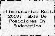 <b>Eliminatorias Rusia 2018</b>: Tabla De Posiciones En <b>Sudamérica</b>