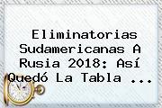 <b>Eliminatorias</b> Sudamericanas A <b>Rusia 2018</b>: Así Quedó La Tabla ...