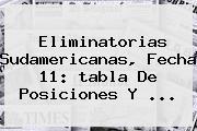 <b>Eliminatorias</b> Sudamericanas, Fecha 11: <b>tabla</b> De Posiciones Y ...