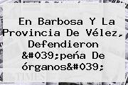 En Barbosa Y La Provincia De <b>Vélez</b>, Defendieron &#039;peña De órganos&#039;