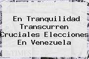 <b>En Tranquilidad Transcurren Cruciales Elecciones En Venezuela</b>